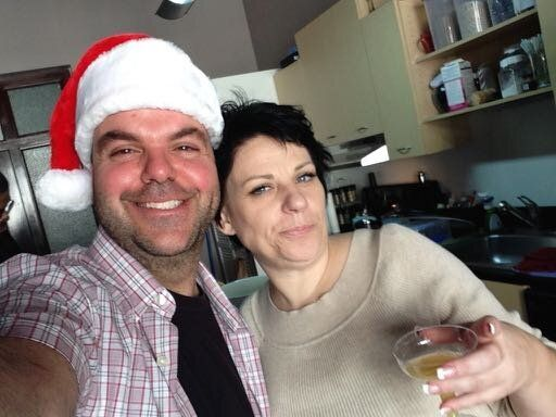 Johnathan Walton and Mair (aka Marianne) Smyth at Smyth's tree-trimming party (December 2013).