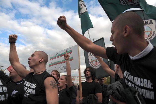 Un grupo de manifestantes de la extrema derecha de Bulgaria, en una reciente