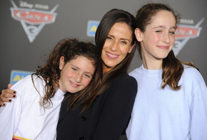 Frye with her daughters, Jagger and Poet, at the premiere of Cars 3 in 2017.