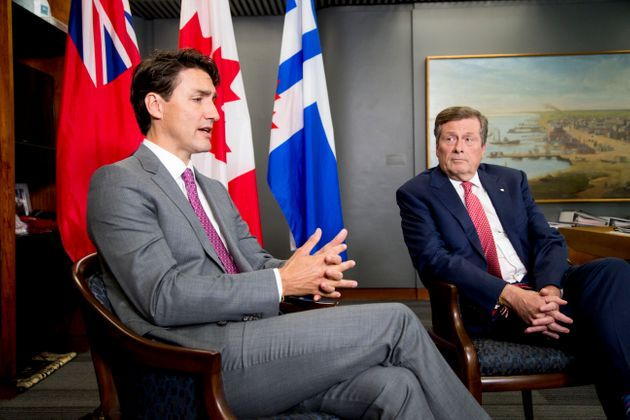 Prime Minister Justin Trudeau meets with Toronto mayor John Tory at City Hall on July 6,
