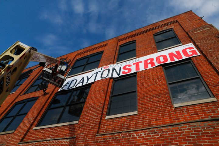 "A banner bears the hashtag ""#DAYTONSTRONG"" after the mass shooting in the city."