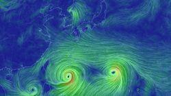 한꺼번에 올라온다는 3개 태풍의