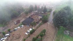 Il fango copre tutto. Casargo, colpito dal maltempo, visto dal drone
