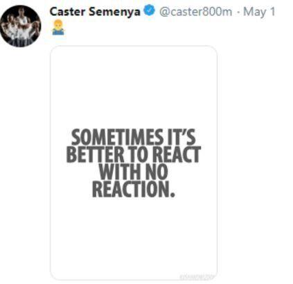 Η απάντηση της Σεμένια στην απόφαση του Αθλητικού Διαιτητικού Δικαστηρίου, μέσω του προσωπικού της λογαριασμού στο Twitter.