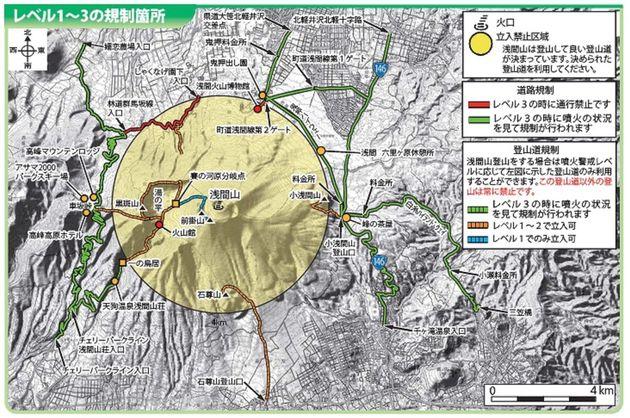 浅間山噴火に伴う規制箇所