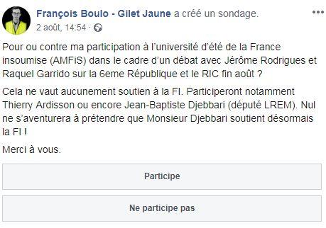 François Boulo a demandé l'avis des gilets jaunes qui le suivent à propos d'une...