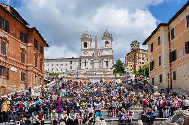 Imagen de las escaleras de la Plaza de España romana, antes de la