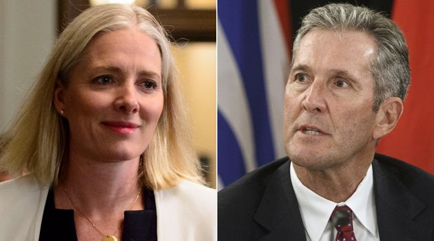 Federal Environment Minister Catherine McKenna and Manitoba Premier Brian Pallister are shown in a composite