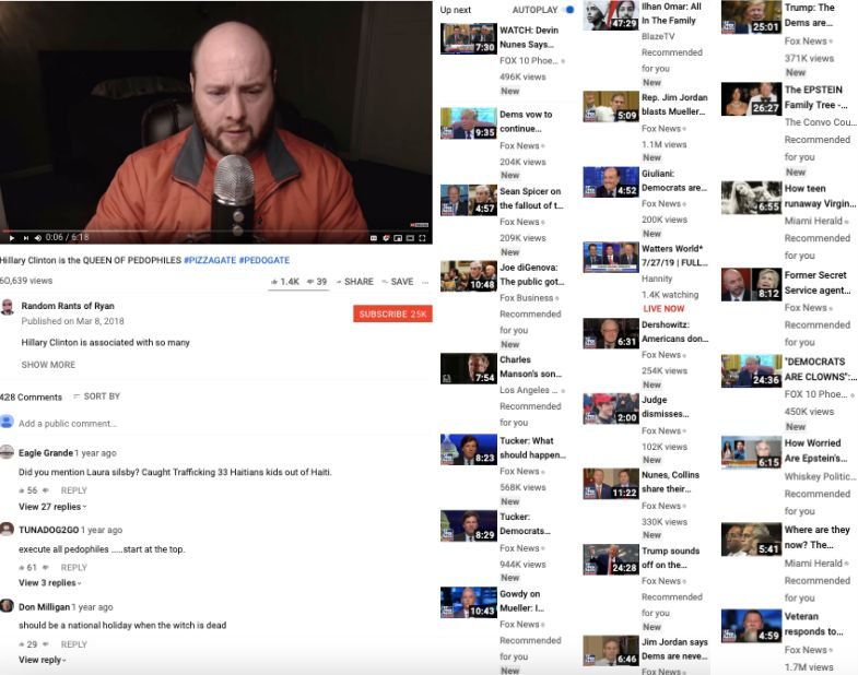 Fox News segments accounted for 19 of the first 25 recommendations on a conspiracy theorist's video when recently accessed from an incognito browser.