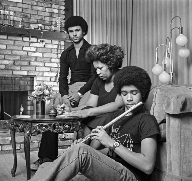 Toni Morrison, at home with her sons Slade and Ford, in December