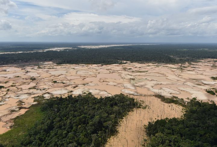 A deforested area of the Amazon jungle in southeast Peru caused by illegal mining.