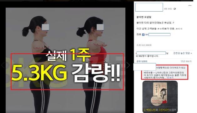 페이스북 게시된 '다이어트 체험기' 가짜 광고가 식약처에