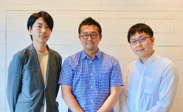 (左から)プライドブリッジ副会長の川口遼さん、会長の松中権さん、副会長の神谷悠一さん