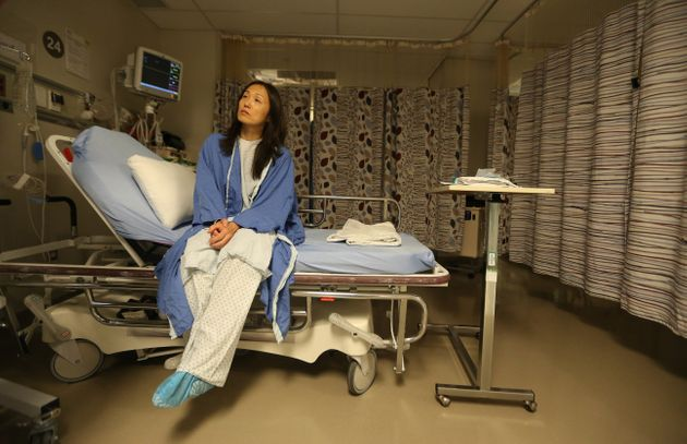 A female patient waits for a procedure at Women's College Hospital in