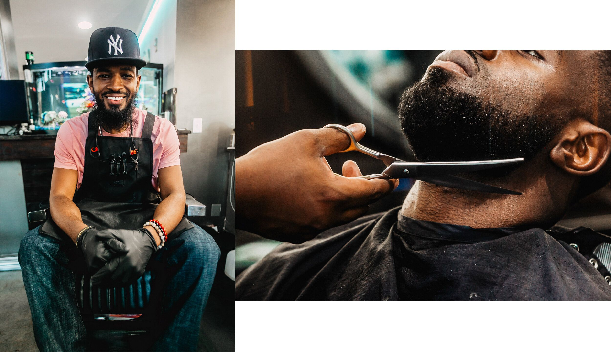 "Left: Stephan ""Step the Barber"" Swearingen poses for a photo at Plush Midtown. Right: Oladi Falade, a regula"