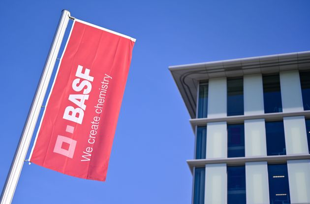 A flag with the logo of German firm BASF flutters at the company's headquarters in Ludwigshafen, Germany,...