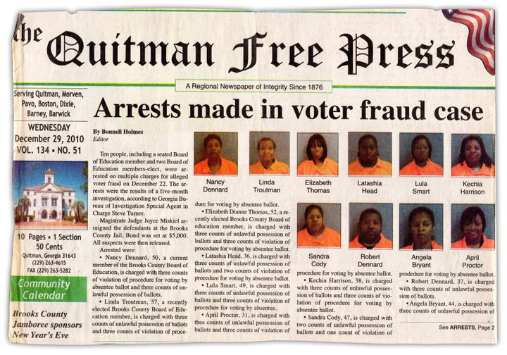 The voter-fraud arrest story on the front page of the Quitman Free Press in 2010.