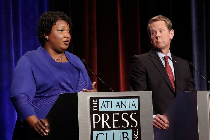 Georgia's Democratic gubernatorial candidate, Stacey Abrams, and Republican nominee Brian Kemp during a debate in Atlanta in