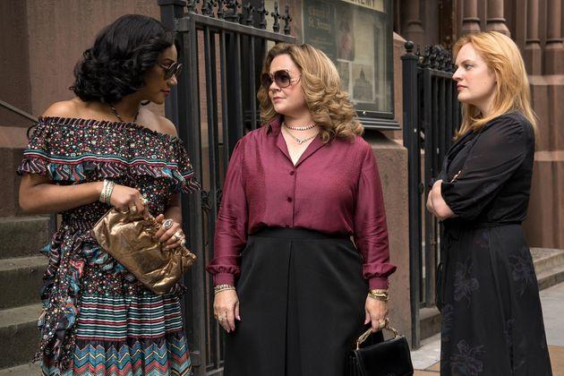Tiffany Haddish,Melissa McCarthy eElisabeth Moss em cena de Rainhas do