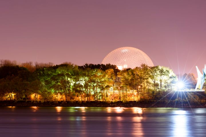 Montreal's Parc Jean-Drapeau pictured at night.