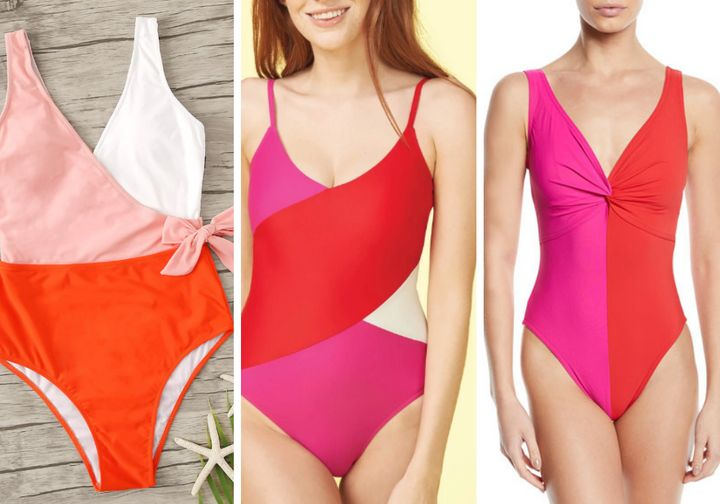"From left: Shein's <a href=""https://us.shein.com/Colorblock-Surplice-Neck-One-Piece-Swimsuit-p-775305-cat-2193.html"" target=""_blank"" rel=""noopener noreferrer"">colorblock surplice neck one-piece swimsuit, $13</a>; Summersalt's <a href=""https://www.summersalt.com/products/the-marina?variant=15346031755373"" target=""_blank"" rel=""noopener noreferrer"">""The Marina,"" $95</a>;&nbsp;Karla Colletto <a href=""https://www.bergdorfgoodman.com/p/karla-colletto-sorella-colorblock-v-neck-underwire-one-piece-swimsuit-prod150130011"" target=""_blank"" rel=""noopener noreferrer"">""Sorella,"" $311</a> (currently sold out)"