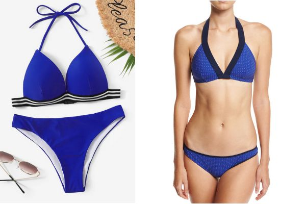 "From left to right: Shein's <a href=""https://www.neimanmarcus.com/p/diane-von-furstenberg-banded-dotted-bikini-swim-top-blue-and-matching-items-prod201590412?childItemId=NM-78Q6_&amp;navpath=cat000000_cat000001_cat58290731_cat44640775_cat9280752&amp;page=0&amp;position=38&amp;uuid=PDP_PAGINATION_38397577cc491c45d83bc9bdb66d7300_qmgurGaJ9GSLfnn07fJANJNI"" target=""_blank"" rel=""noopener noreferrer"">striped trim triangle top and bottom, $11</a>; Diane von Furstenberg's <a href=""https://www.neimanmarcus.com/p/diane-von-furstenberg-banded-dotted-bikini-swim-top-blue-and-matching-items-prod201590412?childItemId=NM-78Q6_&amp;navpath=cat000000_cat000001_cat58290731_cat44640775_cat9280752&amp;page=0&amp;position=38&amp;uuid=PDP_PAGINATION_38397577cc491c45d83bc9bdb66d7300_qmgurGaJ9GSLfnn07fJANJNI"" target=""_blank"" rel=""noopener noreferrer"">banded dot bikini set, $226</a>"