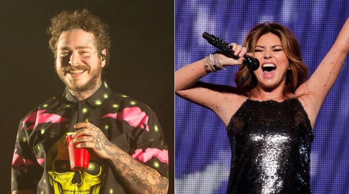 Rapper Post Malone listens to Shania Twain backstage.