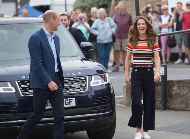 The Duke and Duchess of Cambridge arrive at the Royal Yacht Squadron during the inaugural King's Cup...