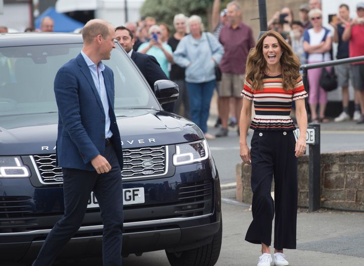 The Duke and Duchess of Cambridge arrive at the Royal Yacht Squadron during the inaugural King's Cup regatta on Aug. 8 in Cow