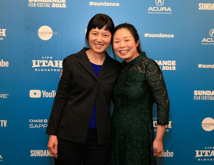 """Jialing Zhang (left) and Nanfu Wang (right) in January at the Sundance Film Festival premiere of """"One Child Nation."""""""