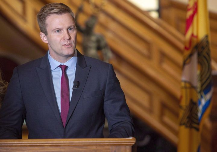 Former New Brunswick premier Brian Gallant announces his resignation as leader of the Liberal Party at the New Brunswick Legislature in Fredericton on Nov. 15, 2018.