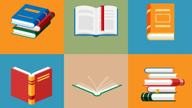 Set of book icons in flat style isolated. Opened notebook and diary with color bookmarks. Stack of literature and documents. Publication, study, learning concept.