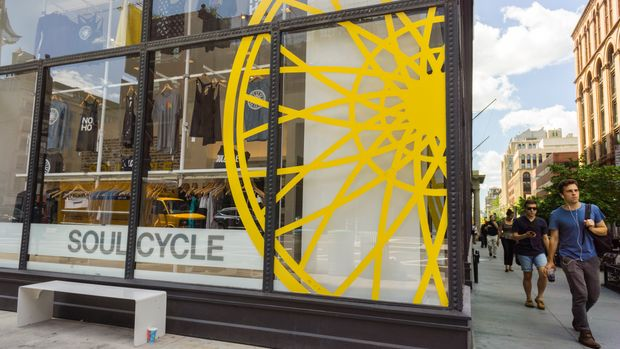 A branch of the widely popular SoulCycle exercise studio in the Noho neighborhood of New York on Friday, July 31, 2015. A California judge has ruled that a class action suit against SoulCycle can move forward. The suit alleges that the exercise chain's class cards that expire in 30 days are essentially gift cards and the expiration is in violation of the federal CARD Act. (�� Richard B. Levine) (Photo by Richard Levine/Corbis via Getty Images)