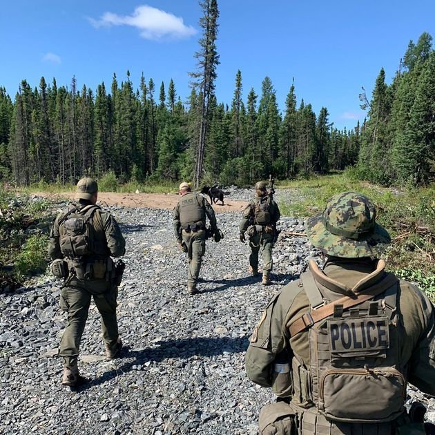 Royal Canadian Mounted Police searching for the suspects in Gillam, Manitoba, Canada on July
