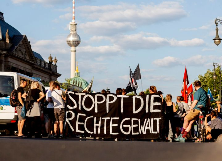 People at a protest against far-right violence in Berlin in June.