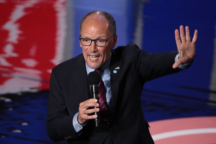 DNC Chair Tom Perez speaks to the audience attending the Democratic Presidential Debate at the Fox Theatre in Detroit on July