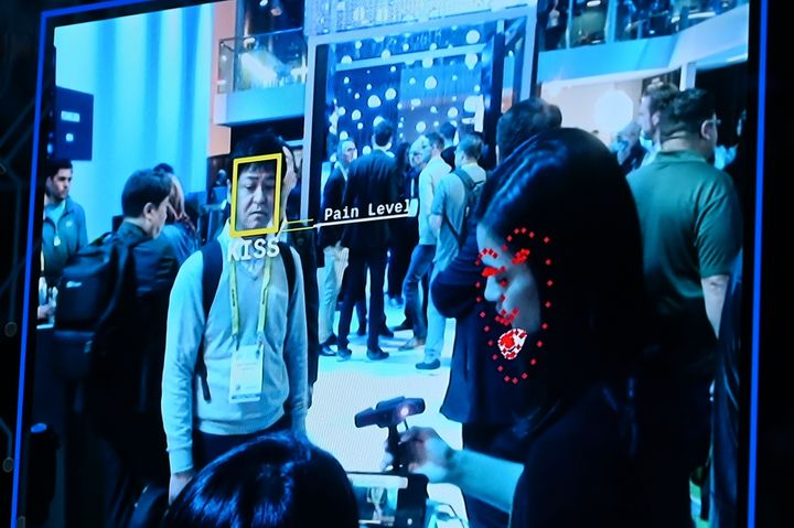 Facial recognition software is demonstrated at the Intel booth at CES 2019 consumer electronics show, January 10, 2019 at the