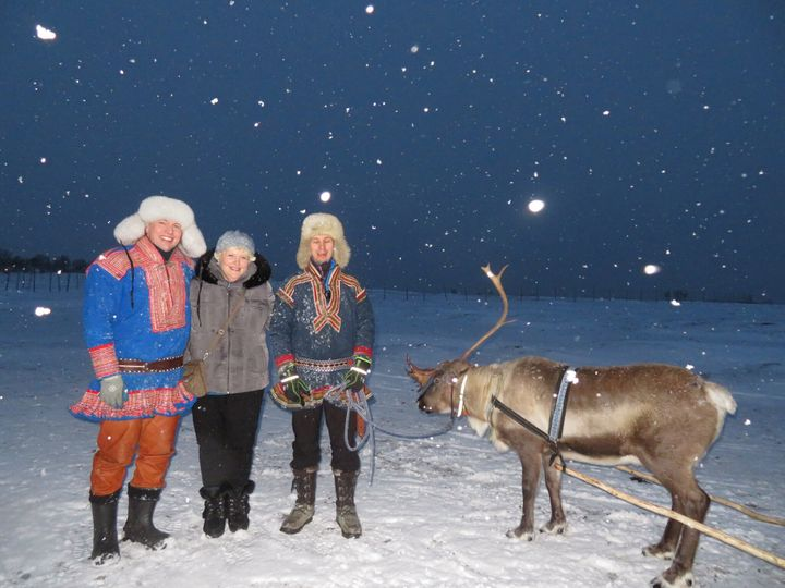 Amy Berman (second from left) recently visited Norway and even got a reindeer ride. She credits palliative care with her abil