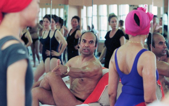 Bikram Choudhury teaches a yoga class in 2000.