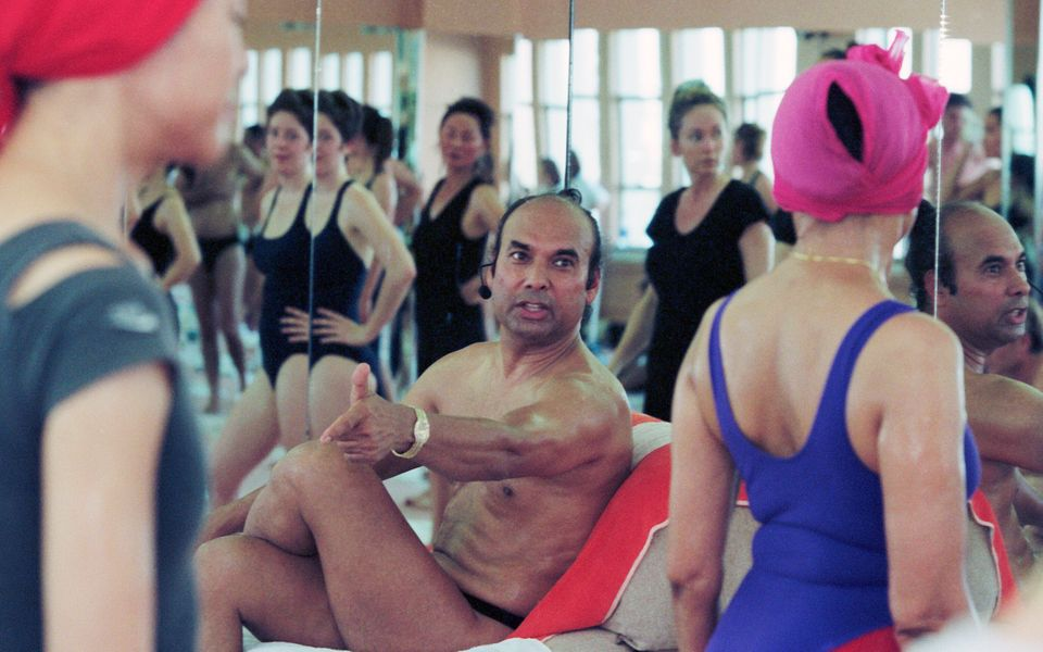 Bikram Choudhury teaches a yoga class in