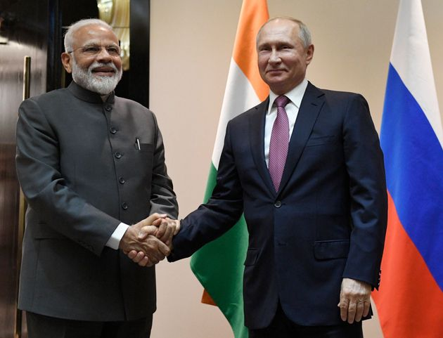 India's prime minister Narendra Modi with Russian President Vladimir Putin in a file