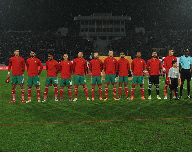 Les joueurs de l'équipe nationale de football du Maroc avant la finale du Championnat d'Afrique...