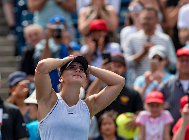 Bianca Andreescu of Canada celebrates her in the semifinal match at the Rogers Cup women's tennis tournament...