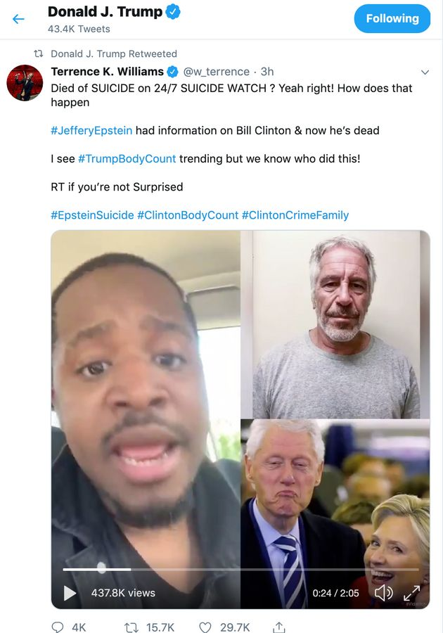 Trump Retweets Baseless Conspiracy Theory Implicating Clintons In Epsteins Death