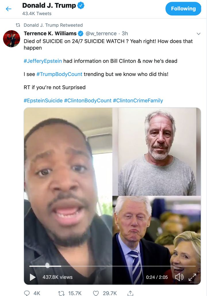President Donald Trump retweeted this conspiracy theory linking the Clintons to Jeffrey Epstein's death.