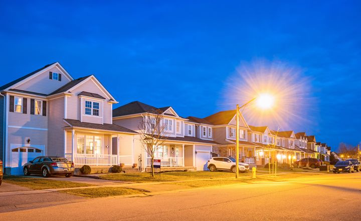 Suburban houses are seen here at twilight in Brantford, Ont.