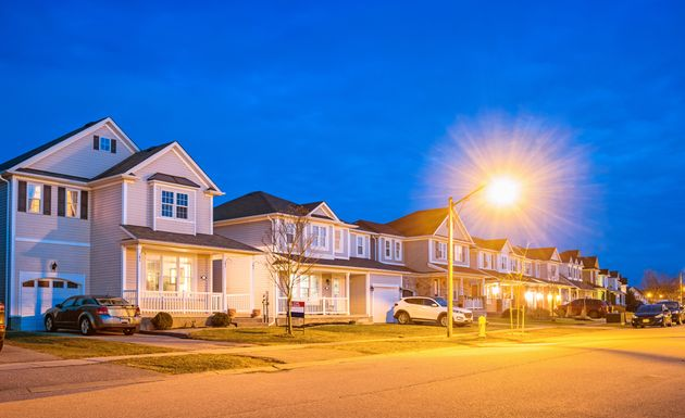 Suburban houses are seen here at twilight in Brantford,