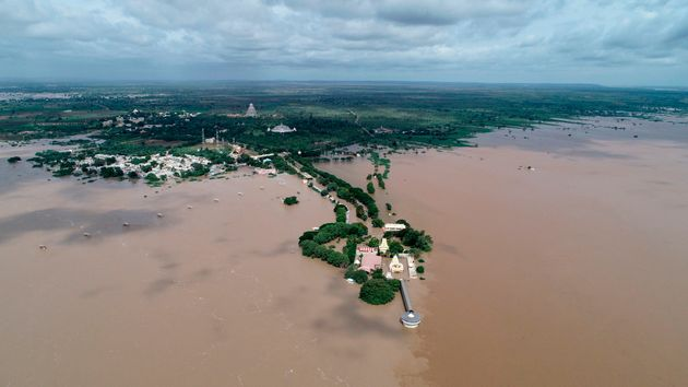An aerial view of the Kudala Sangama, an important centre of pilgrimage for the Lingayat community, submerged...