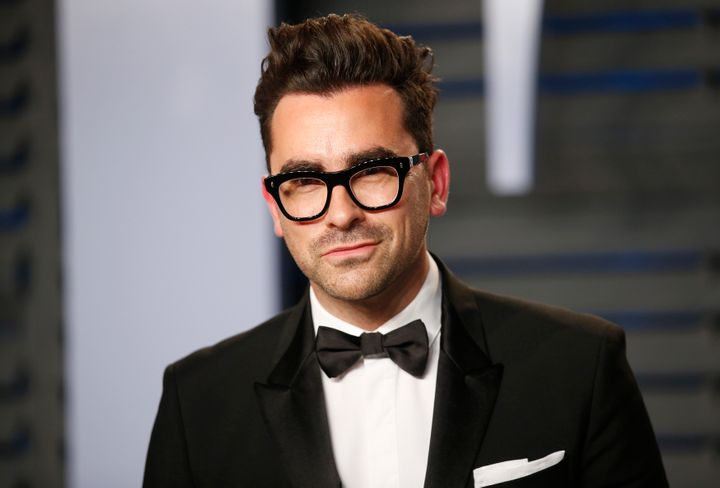 Dan Levy arrives at the 2018 Vanity Fair Oscar party.