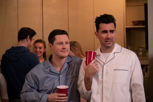 Noah Reid, left, and Dan Levy, right, as Patrick Brewer and David Rose in season five of